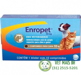 ENROPET 50MG ORAL CÃES E GATOS CEVA - 10 cOMPRIMIDOS
